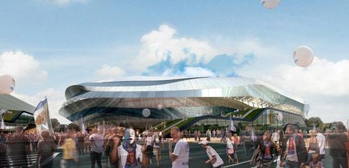 Visión exterior diseño estadio Foreign Office Architects