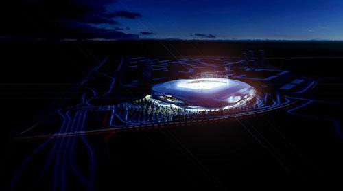 Visión nocturna diseño estadio Foreign Office Architects