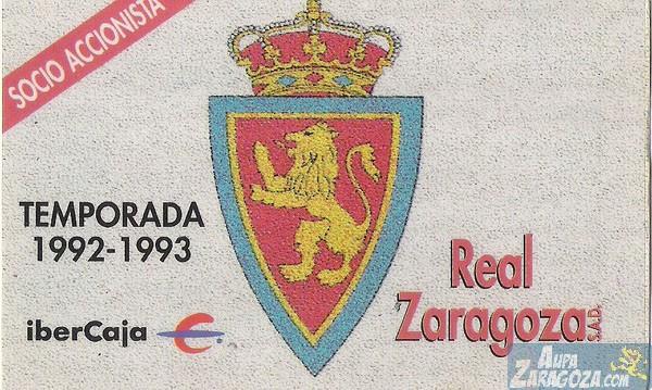 abono real zaragoza 1992-93