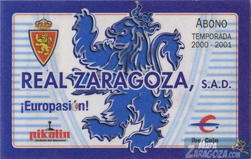 abono real zaragoza 2000-01