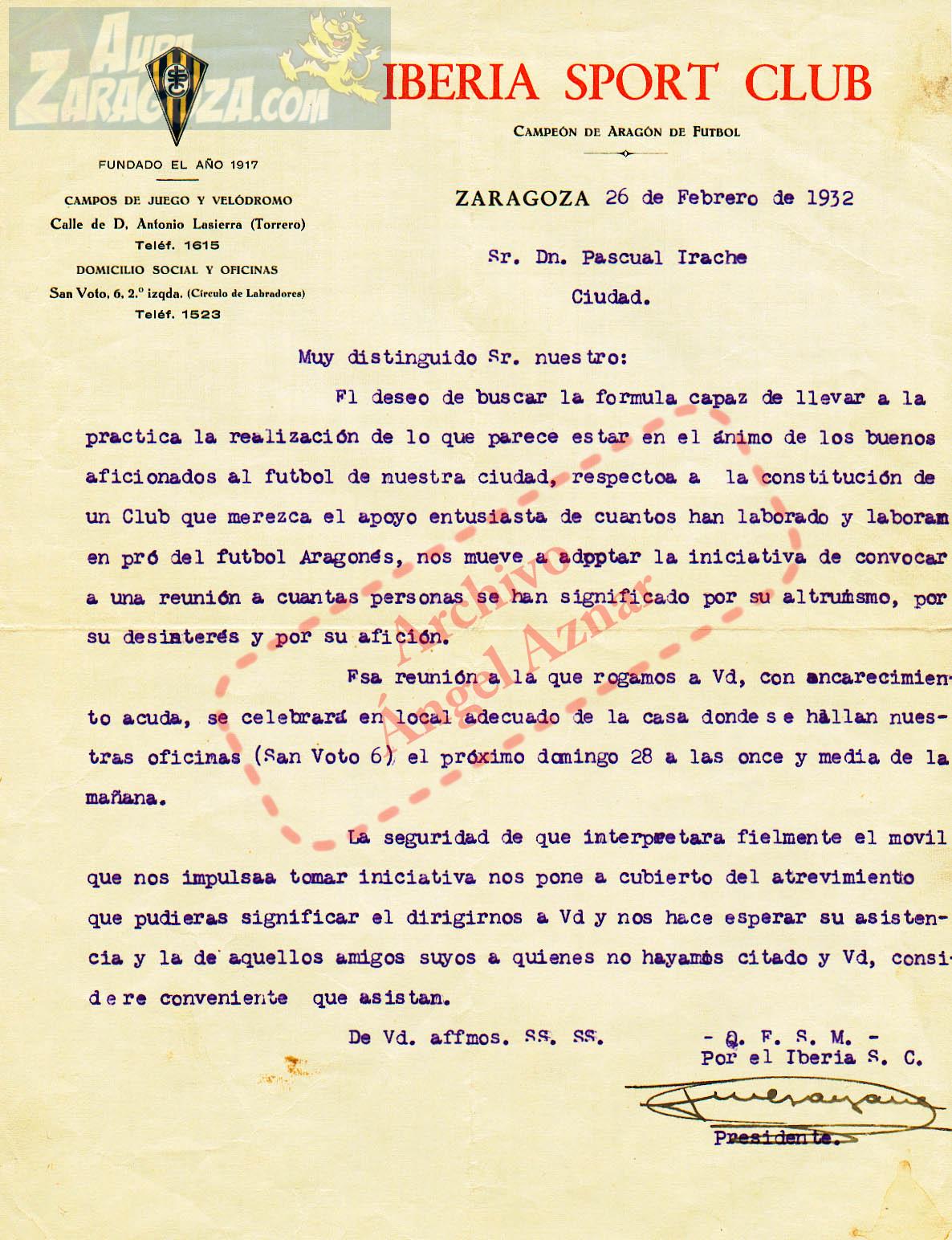 carta origen real zaragoza